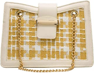 Leather Women Cross Body Bag Contrast color Chains Yellow