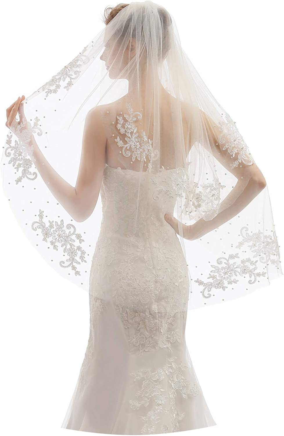 Elawbty Womens 2 Tier Fingertip Length Short Lace Pearl Wedding Bridal Veil With Comb X05