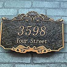Gepersonaliseerde 3D gravure huis nummer borden retro textuur Road Naam plaque aangepaste tekst patroon muur teken voor wo...