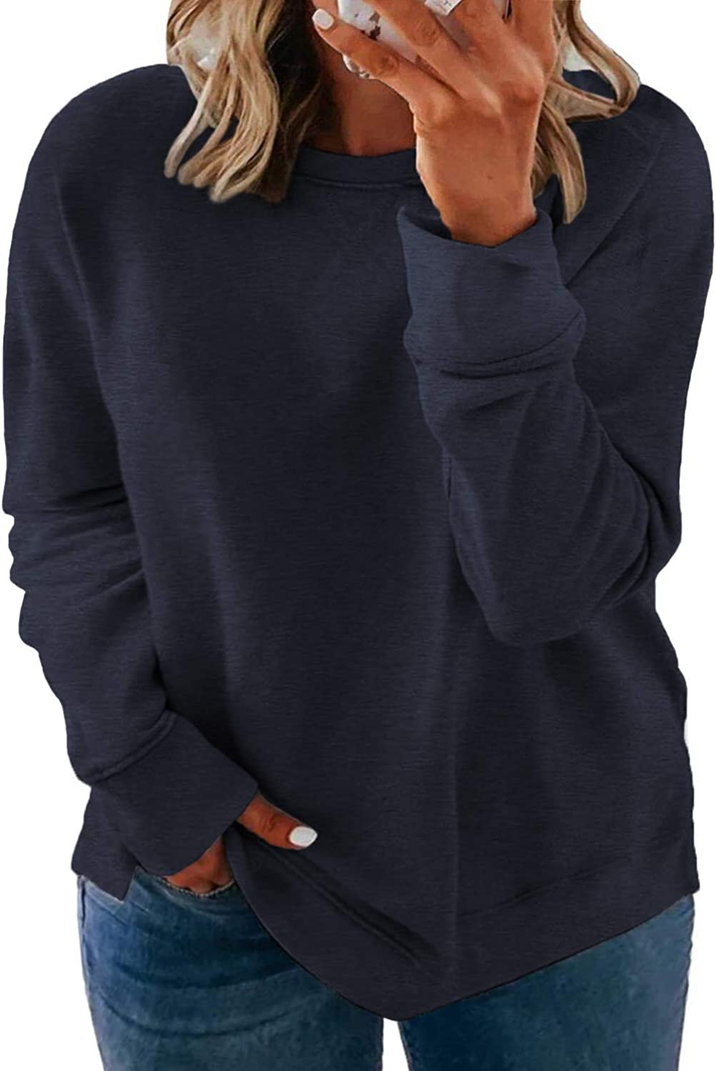 ROSRISS Plus-Size Sweatshirts for Women Long Sleeve Tops Pullover Shirts