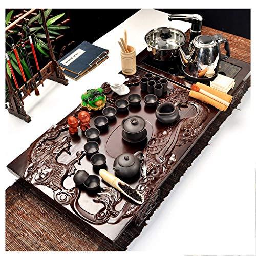 MU Exquisite orientalische Keramik Porzellan Kung Fu Teetasse Set - handgemachte Tee Tablett - freistehende 4-in-1 elektromagnetische Quick Set - Farbwechsel Tee Haustiere,Schwarzes Porzellan