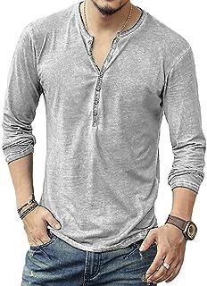 [LASSE MOA] Tシャツ メンズ カットソー ヘンリーネック クルーネック ダメージ加工 ヴィンテージ 長袖