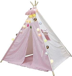 Deluxe Kids Tent-Indoor y Outdoor Play House,Chico y Chica Independiente Espacio Interesante,con Tela de Lona Gruesa 4 Postes de Madera Plegable para un FáCil Almacenamiento Tiendas de campaña Sin Tapete