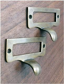 2 pcs Holder Drawer Pull Handle Solid Brass Vintage Style Label File Name Card