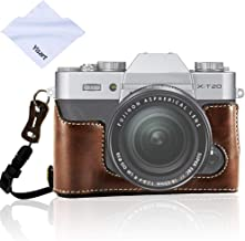 for Fujifilm XT30 XT20 XT10 Camera Leather Half Case Bottom Case, Yisau Handmade Genuine and Strap Compatible with Fuji X-T30, X-T20, X-T10 (Coffee)