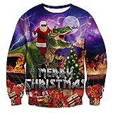 chicolife Brutto Natale Pullover, Unisex Uomo Donna 3D Xmas Santa con Dinosauro Felpa Maniche Lunghe Sweater Slim Fit Abbigliamento per Regalo Capodanno, S-XXL