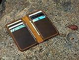 Personalised minimalist leather wallet/leather men slim thin bifold leather wallet/minimal front pocket wallet