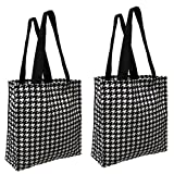 Earthwise Reusable Environmentally Friendly Grocery Shopping Tote Everyday School Gym Travel Fashion Bag Houndstooth Proudly Made in the USA (Set of 2) (Houndstooth)
