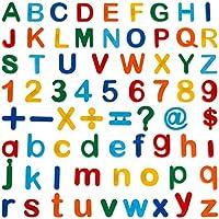 90 pezzi: 26 lettere maiuscole, 27 lettere minuscole, 20 numeri e 17 simboli, 5 colori diversi per i bambini da distinguere (rosso, arancione, giallo, verde, blu) Adesivi magnetici alfanumerici educativi per aiutare i bambini a imparare l'ortografia ...