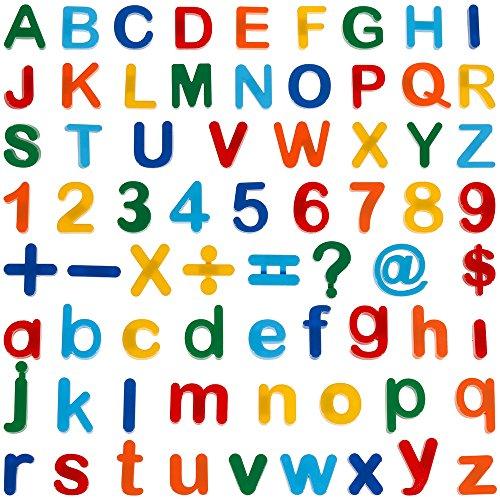 Anpro 90pcs Letras y números magnéticos imanes Letras Pizarras mágicas y Juguetes magnéticos para Niños