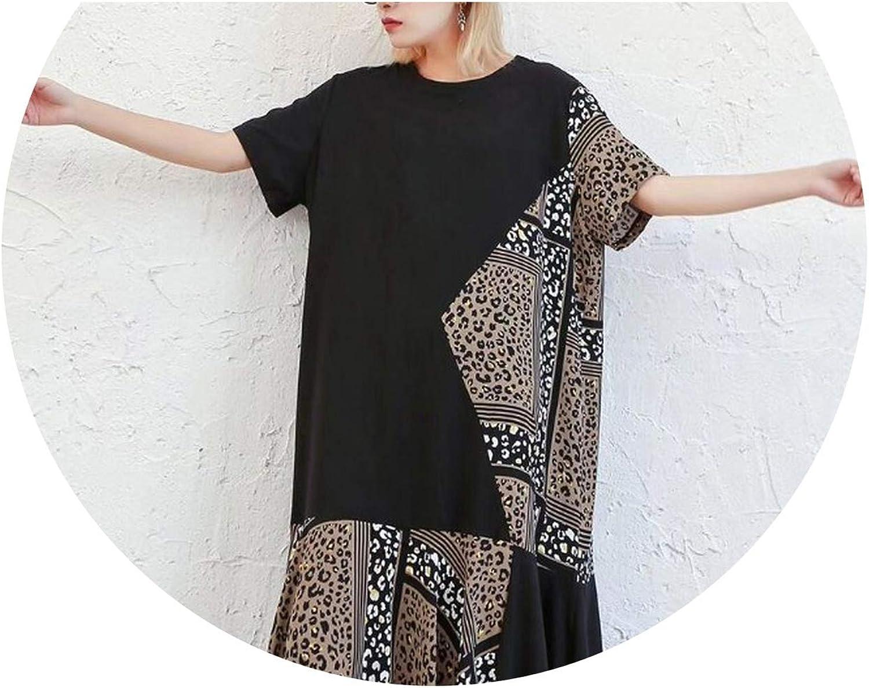 PilotageAuto Spring Patchwork Print Hit color Dress O Neck Short Sleeve Loose Oversize MidCalf Dresses
