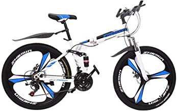 Purpleflower 26 inch Mountain Bike for Adults, High Carbon Steel Full Suspension MTB, Unisex Folding MTB Bike with 21 Speed Dual Disc Brakes, Bicycles for Adult Teens Men Women