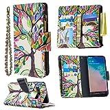 Nadoli Reißverschluss Brieftasche Etui für Samsung Galaxy S10,Bunt 9 Karte Halter Pu Leder Gemälde Baum Entwurf Lanyard Magnetisch Standfunktion Flip Schutzhülle