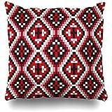 BK Creativity Pillow Cover,Rombo Nativo Tribal Patrón Geométrico Abstracto Perú Americano Navajo Pagano Zigzag Apache Premium Durable Cojín Fundas 40x40cm