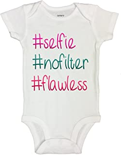 Cute Baby Bodysuit #Selfie #No Filter #Flawless Girls Bodysuit - Little Royaltee