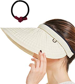 Song Qing Sun Visor Hat Women 5.5'' Large Brim Summer Beach Cap