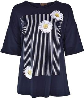 Camisetas para mujer de verano, tallas grandes, elegantes, especiales, de manga corta, para mujer, divertidas, con flores,...