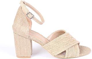 Çapraz Bantlı Kalın Topuklu Hasır Kadın Ayakkabı - İnside