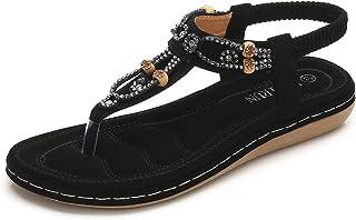 1b2d1409b9e9c0 ZOEREA Femmes Eté Sandales Plates Casual T-Strap Strass Bohême Tongs  Elegant Confort Plat Chaussures