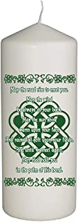 Hat Shark Irish Prayer with Knot May The Road Rise Up Holiday Celebration Candle for St. Patrick's Day, Religious, or Family Gatherings - Printed in Full Color 6 Inches Tall