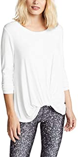 Bestisun Women's Long Sleeve Workout Shirts Loose Fit Yoga Tops Casual Solid T Shirts Twist Knot Tunics Tops Blouses