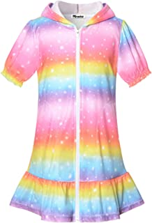 Swim Cover up for Girls Terry Beach Cover-Up 8 9 Rainbow Hooded Zip Robe Cover-Ups