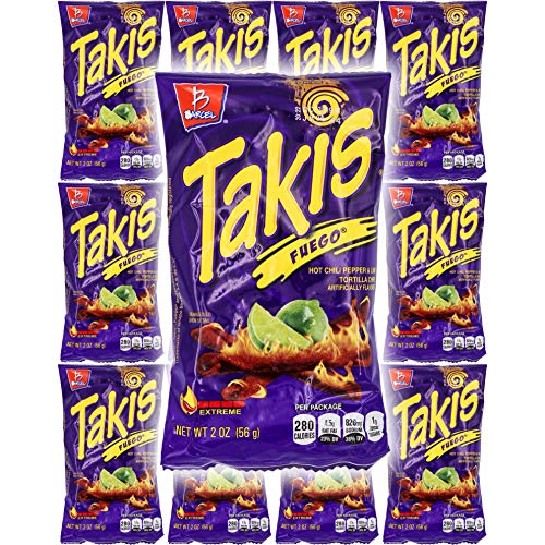 Takis Fuego Hot Chili Pepper & Lime Tortilla Chips (12 Pack - 2 Oz. Bags)