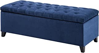 Madison Park Shandra Storage Ottoman - Solid Wood, Polyester Fabric Toy Chest Modern Style Lift-Top Accent Bench for Bedroom Furniture, Medium, Navy
