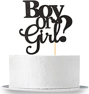 Black Glitter Boy Or Girl Cake Topper - Elegant Baby Shower Gender Reveal Party Photobooth Props