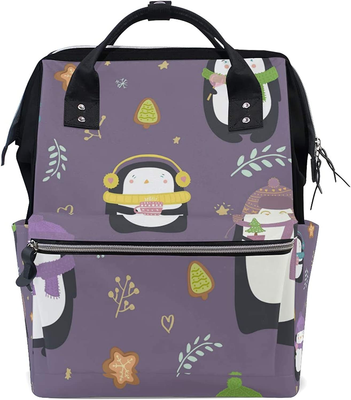 DEZIRO Canvas Endearing Penguins School Pack Backpacks Travel Bag