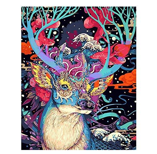 Malen Sie mit den Zahlen Bright Deer Animal Abstract DIY Digital Painting by Nummbers Modern Wall Art Canvas Painting Geschenk Home Decor 30 x 40 cm (12 x 13 Zoll)