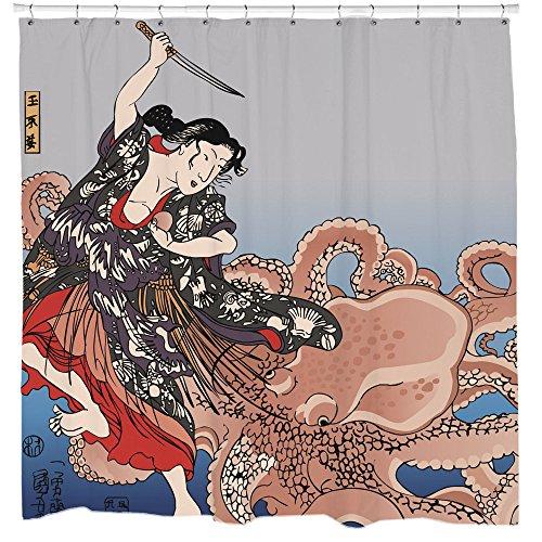 Kämpfen die Octopus Duschvorhang von Sharp Shirter, multi, 180 cm x 188 cm(Standard)
