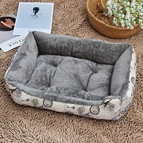 Ygccw Memory Foam Pluche Hond Bedden Hondenmand Bed Dekens Lounger Huisdier benodigdheden Vier seizoenen universele warm vierkant nest kat nest grijs 70 * 52cm