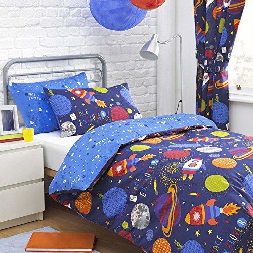 Textile Warehouse Space Explorer Rockets Stars Blue Boys Childrens Duvet Quilt Cover Bedding Set Single