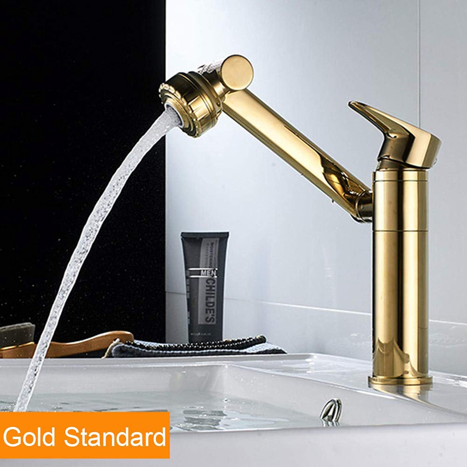 HSFKJDHF Bathroom Household Table Basin Copper Washbasin Kitchen Hot And Cold Water Faucet Washbasin Basin Can redate Kitchen Faucet@gold Standard