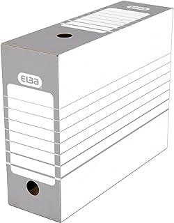 Elba Lot de 20 Boîtes Archives Automatiques en Carton Dos 10 cm Gris