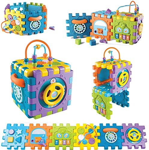 Tippi 6 in 1 Baby & Toddler Activity Cube - Musical Activity Play Centre Toy For 12 Months Old Boy or Girl - Multi Game Shape Sorter For Years 1 +
