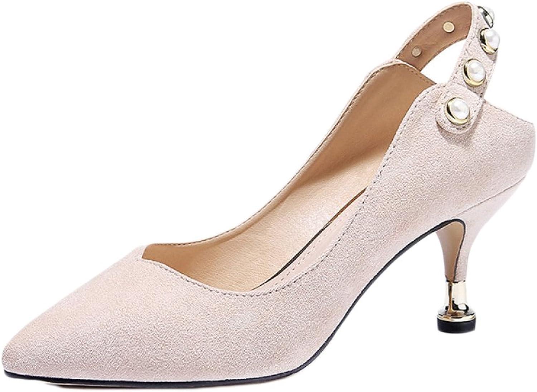 Frau Nude High Heels Mode Sexy Arbeit Court Schuhe Schuhe Schuhe Hochzeit Katzen Schuhe Party Nachtclub,Off-Weiß-6.5cm-EU 34 UK 2  06842c