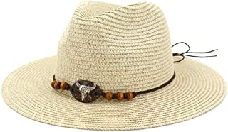 Hats and Caps Summer Sunshade Cap Big Brim Jazz Paper Straw Sun Hats Cow Head Decoration Men Women Beach Sunhat Travel (Color : Beige, Size : 56-58CM)