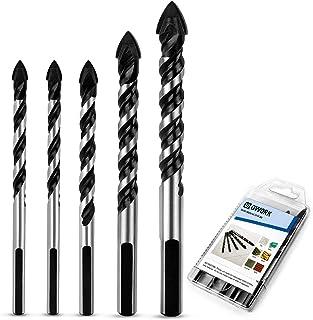 QWORK 5 Pcs Set (6, 6, 8, 10, 12mm) Multi-Material Drill Bit Set for Tile,Concrete,..