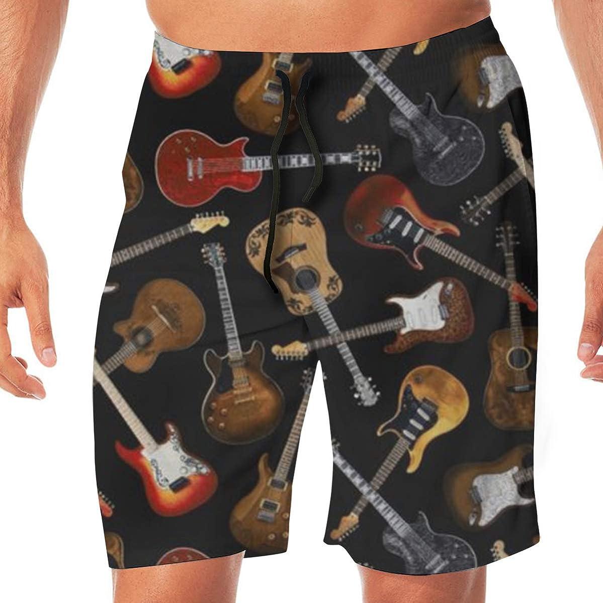 MaoYTUI Guitars Black Mens Swim Trunks Boys Quick Dry Bathing Suits Drawstring Waist Beach Broad Shorts Swim Suit Beachwear with Mesh Lining