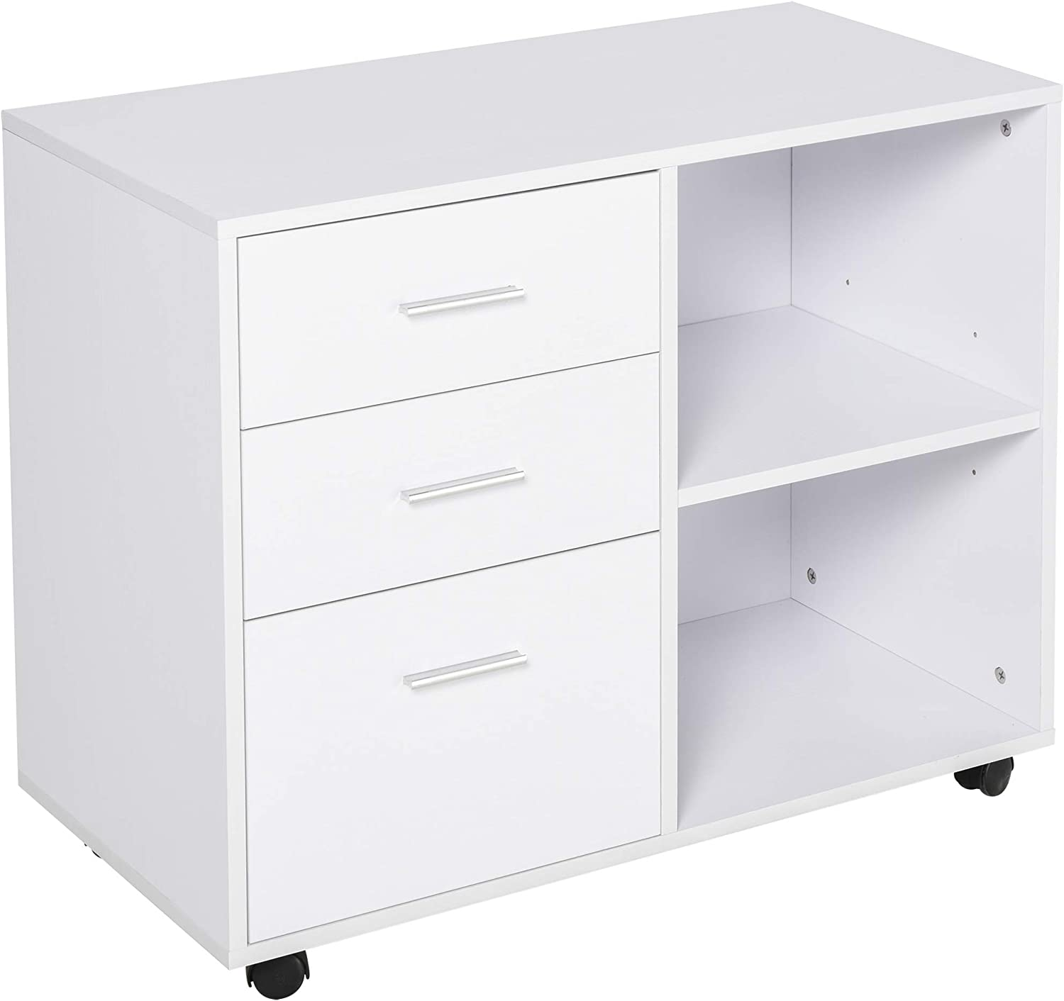 HOMCOM Indoor Office Filing Surprise price Cabinet 3 with Storage Drawers Open Many popular brands