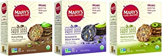 Mary's Gone Crackers Super Seed Organic Crackers 3 Flavor Variety Bundle: (1) Everything, (1) Seaweed & Black Sesame, and (1) Basil & Garlic, 5.5 Oz. Ea. (3 Boxes Total)