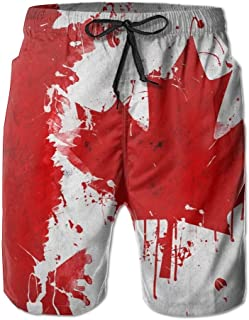 93d9ce3869 Men Summer Canada Canadian Flag Art Quick Dry No Mesh Lining Beach Shorts  Cargo Shorts