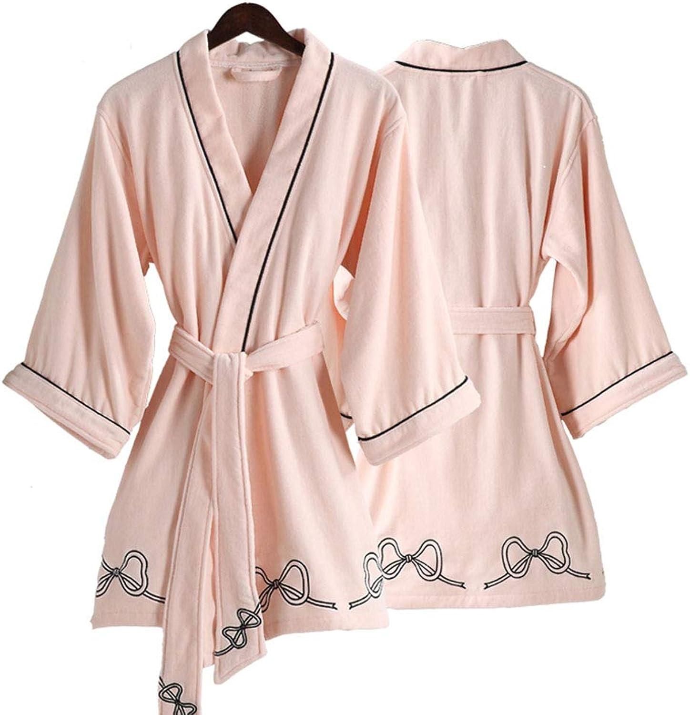 Bathrobe, Youth Short Cotton Absorbent Towelling Kimono Robes, Women Sexy Sleepwear, one Size