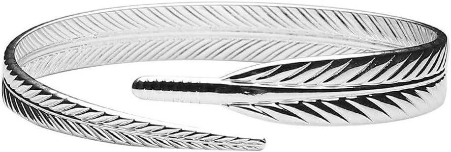 WEILYDF Feather Bracelets Minimalist Vintage Style Wedding Bracelet Beautiful Hypoallergenic Opening Cuff for Lover