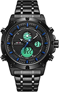 WH6906 Dual Display Two Movement Quartz Digital Men Watch 3ATM Waterproof LCD Backlight Luminous Sport Dual Time Zone Auto Date Week Calendar 24-Hour Alarm Stopwatch Chronograph Wristwatch with