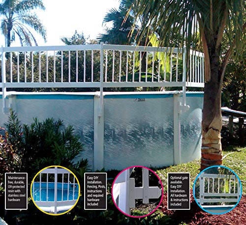 "WaterWarden Pool Fence, Add-On Kit C, Large, White – Extends Partition ""A"" by 2 Sections Aboveground Enclosure for Kid Safety, EST147"