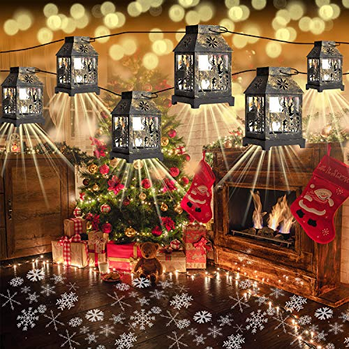 Yostyle Christmas Snowflake Projector String Lights, 22FT 6PCS Decorative Lantern Lights with Snowflake Projection for Xmas Indoor Outdoor Garden Patio Yard Bedroom Holiday Decor