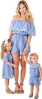 BSGSH Mommy Daughter Denim Outfits Summer Scallop Hem Casual Off Shoulder Matching Dress